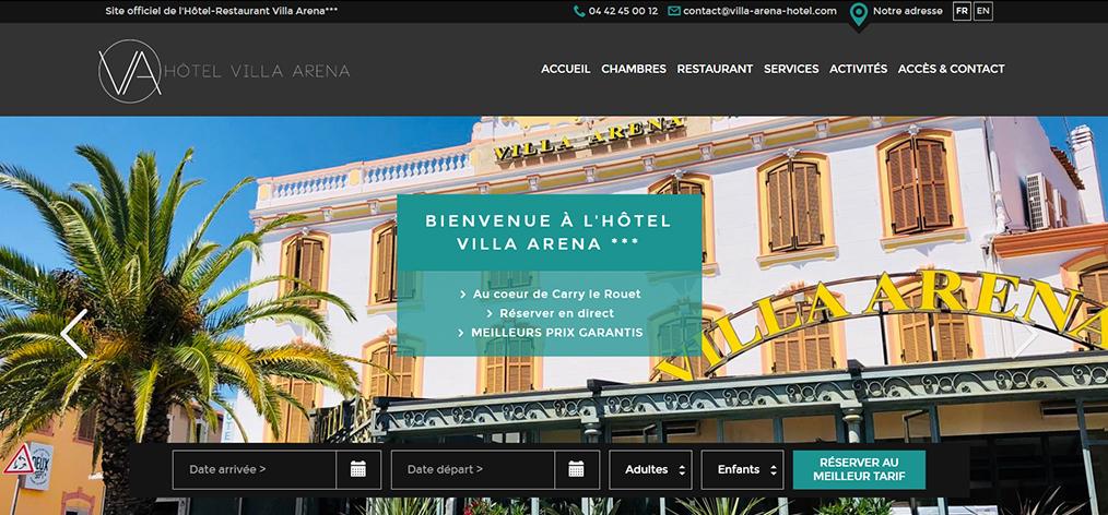 L'Hôtel Restaurant Villa Arena a refait son site web avec ESKALE