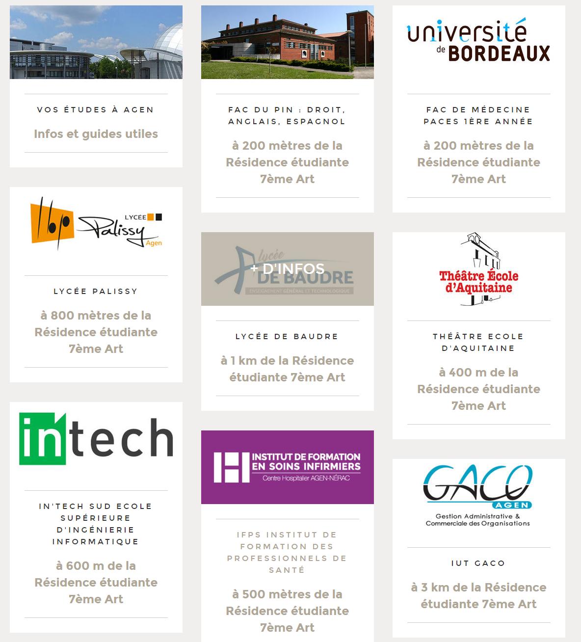 Référencement des établissements supérieures sur un site web d'une résidence étudiante par Eskale