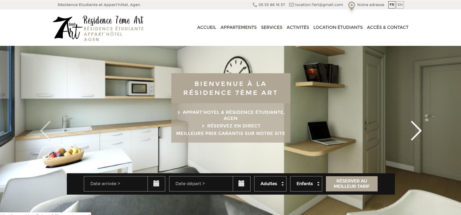 exemple de création de site web de résidence de tourisme par Eskale