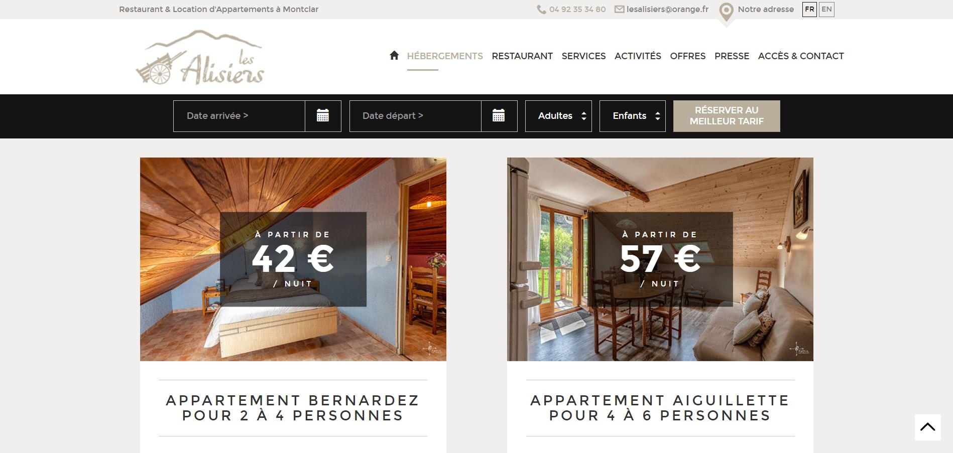 Mise en avant des locations d'appartements sur un site internet créé par Eskale